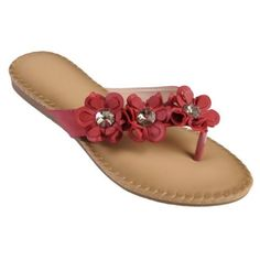 Brinley Co Womens Flower Detail Flip Flop Sandals on Sale