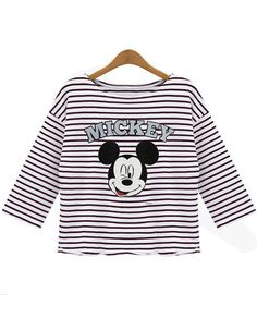 Striped Mickey Print Black T-Shirt