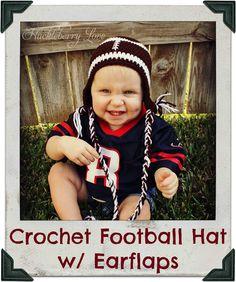 For the football fans.  Crochet Football Hat w/ Earflaps {Free Pattern}