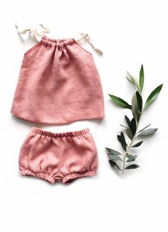 Handmade Linen Baby Top & Bloomers Outfit   Sunny Afternoon on Etsy