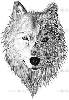 Bildergebnis für wolf illustration More - Julie's Tattoos Wolf Tattoo Design, Lotus Tattoo Design, Skull Tattoo Design, Tattoo Wolf, Tattoo Designs, Lizard Tattoo, Wolf Design, Two Wolves Tattoo, Coyote Tattoo
