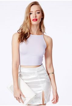 Missguided - Mintare Crop Top With Spaghetti Straps In Lilac