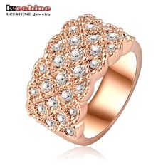 [Visit to Buy] LZESHINE Unique Luxury Rose Gold Plating Engagement Rings/Saphire Rings With Austrian Crystals Charm Jewelry Anelli Ri-HQ0062 #Advertisement