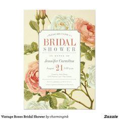 Vintage Roses Bridal Shower Card