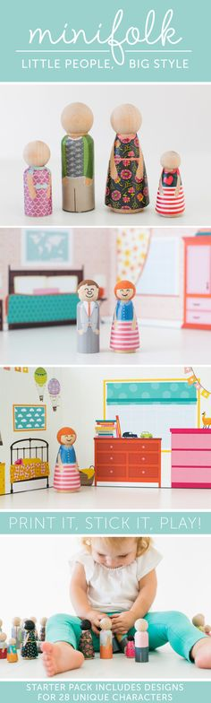 Printable Clothes for wooden dolls! Great way to make peg dolls without crazy artistic skills!
