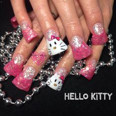 Hello Kitty Flare Nails Nails by Katie Hart Eugene, Or 541-730-2662www.styleseat.com/KatieHart www.facebook.com/nailsbyKatieHart