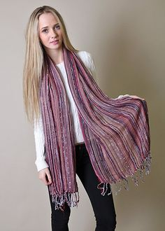 Women's Festival Bliss Shimmer Scarf Boho Chic Shawl with Tassels (Red) at Amazon Women's Clothing store: