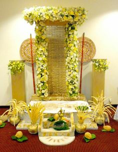 Festive decor Diy Diwali Decorations, Garden Wedding Decorations, Backdrop Decorations, Festival Decorations, Diy Garden Decor, Flower Decorations, Wedding Plants, Flower Decoration For Ganpati, Ganpati Decoration Design