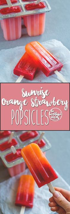 Orange Strawberry Sunrise Popsicles - treat yourself with homemade popsicles this summer. We LOVE these! They're easy to make, delicious, and actually healthy! (raw vegan)   thehealthfulideas.com