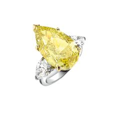 Asprey pear-shaped fancy vivid yellow 15.02 carat diamond ring with diamond shoulders, price upon requestFor information: asprey.com - Photo: Courtesy of Asprey