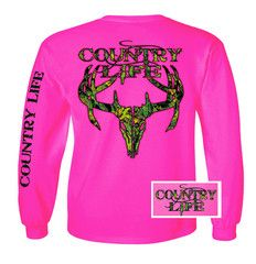 Country Life Outfitters Pink Camo Realtree Deer Skull Head Hunt Vintag | SimplyCuteTees