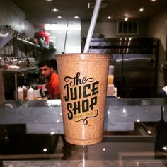 The Juice Shop - Funky Town (cacao nibs, cacao powder, coconut meat, espresso beans, banana, fresh-pressed coffee, agave) #juice #smoothie #coffee