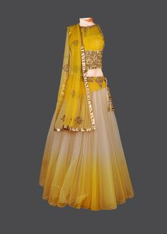 Featuring a yellow & gold shaded net lehenga, with swarovksi, cut-dana, and… Lehenga Designs, Indian Bridal Wear, Indian Wear, Indian Dresses, Indian Outfits, Look Fashion, Indian Fashion, Indische Sarees, Indian Look