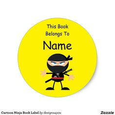 Cartoon Ninja Book Label Bright Yellow Classic Round Sticker