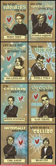 Printable science Valentine's cards featuring Marie Curie, Carl Sagan and Ada Lovelace Marie Curie, Science Valentines, Nerdy Valentines, Science Puns, Chemistry Jokes, Science Geek, Math Puns, Biology Humor, Grammar Humor