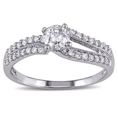 Miadora Signature Collection 14k White Gold 3/5ct TDW Diamond Engagement Ring (G-H, I2-I3) (Size 7), Women's