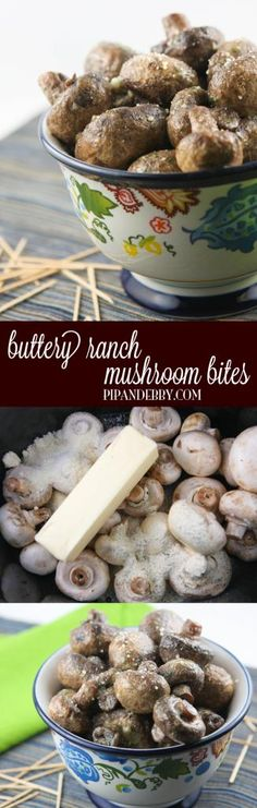 Buttery Ranch Mushroom Bites - FOUR ingredients +TWO hours in your crockpot = the best mushrooms you will ever taste, I promise! This is a great side dish, appetizer or snack.