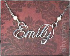 Introducing my exclusive style of personalized jewelry, like traditional wire name necklaces but with sculpted calligraphic script letters.