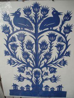 "wycinanki-folded cut paper 13"" x 19"" tree of life"