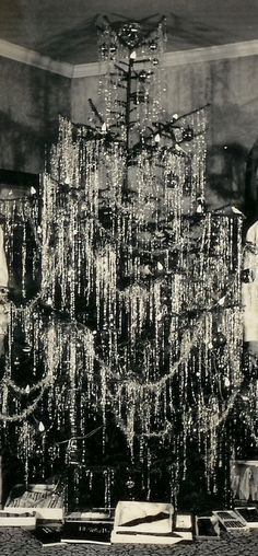 1940 silver tinselled christmas tree... stunning...