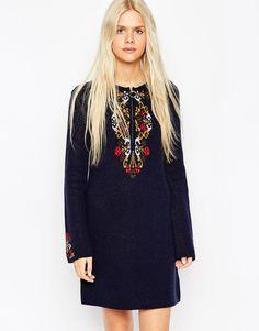 Image 1 ofASOS Dress in Folk Pattern in Knit