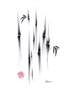 Dreamland Original sumie ink brush zen bamboo painting by