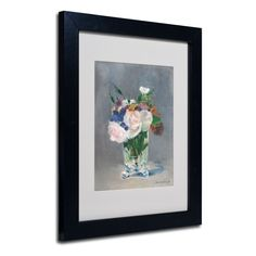Edouard Manet 'Flowers In a Crystal Vase' Framed Matted Art