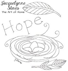 """Free Embroidery Pattern- """"Hope"""" - Jacquelynne Steves"""