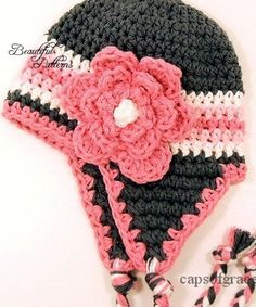 Crochet Patrón bebé sombrero orejera gorro de por BeautifulPatterns
