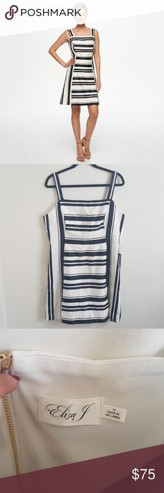 """NWT ELIZA J DRESS NEW With Tags! Never worn! No flaws, no holes!! Beautiful navy blue and cream colors, gold zipper in the back. Two opens on side of dress. Jacquard fit and flare dress. Armpit to armpit 18"""" Approx  Lenght top to bottom dress 36"""" Approx ✔Look at all pictures ✔No trades ✔I ship fast ✔Smoke free house ✔Bundle up for more savings 👉🛍🎁💰👈 Eliza J Dresses Midi"""
