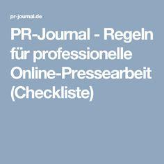 PR-Journal - Regeln für professionelle Online-Pressearbeit (Checkliste)