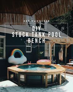 DIY: Stock Tank Pool Bench Guys, this stock tank pool bench is a game changer. Last year we just had Stock Pools, Stock Tank Pool, Stock Tank Bench, Diy Pool, Diy Patio, Pool Fun, Outdoor Spaces, Outdoor Living, Pool Sizes