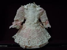 """Exquisite french Bebe Tiny Dress Hat Couturier Costume for 11/13"""" doll from believe on Ruby Lane"""