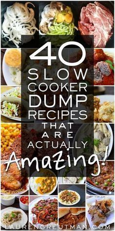 40 Amazing Slow Cooker Dump Meals - 40 Dump Recipes for the Slow Cooker that ar. 40 Amazing Slow Cooker Dump Meals - 40 Dump Recipes for the Slow Cooker that are actually Delicious - Crockpot Dump Recipes, Crockpot Dishes, Cooking Recipes, Healthy Recipes, Crock Pot Dump Meals, Dump Dinners, Crockpot Summer Meals, Delicious Recipes, Recipes Slow Cooker