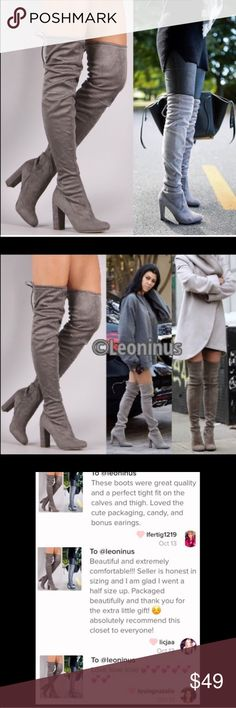 """HOST PICKOver-the-Knee Boots gray 4"""" heel. Bottom of heel to top of shaft, 26"""" on size 10. Ankle 5"""" across. Drawstring top. Faux suede. Zips footbed to mid lower leg. Image 4 shows pair of actual in stock boots. ⚠️Size up a half-size, whole size if you don't like a snug fit, or wear exceptionally thick socks, add insert, have wider feet or thick ankles. Not recommended for particularly large calves. Seller not responsible for fit nor comfort. No trades/off App transactions.‼️Regular size 9…"""