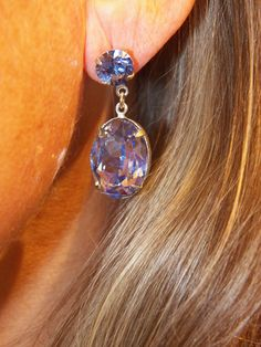 Purple crystal with post. Find these and other unique earrings at The Prince's Table!
