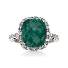 5.00 Carat Emerald and .22 ct. t.w. Diamond Ring In Sterling Silver