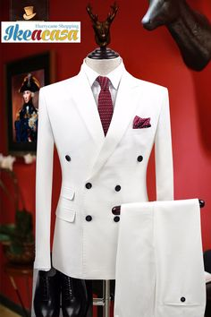 groom wedding suit on sale at reasonable prices, buy brand clothing slim fit men suits white tuxedo coat/pant double breasted groom wedding suits for men formal boy prom suits from mobile site on Aliexpress Now! Boys Prom Suits, Double Breasted Suit Men, Tuxedo Coat, Mens Kurta Designs, Slim Fit Tuxedo, African Clothing For Men, Designer Suits For Men, White Suits, Mens Fashion Suits