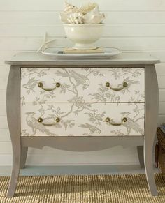 diy project of the week wallpaper your furniture, home decor, painted furniture, Add some decorative graphics to the front of a dresser