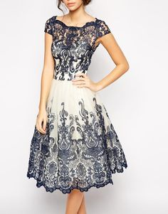 Chi Chi London | Chi Chi London Premium Embroidered Lace Prom Dress with Bardot Neck at ASOS