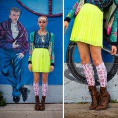 Free People Headband, Betsey Johnson Cardigan, Bdg Abstract Print Shirt, Urban Outfitters Fluorescent Yellow Skirt, Urban Outfitters Floral Knee Highs, Vintage Boots, Vintage Ankh, Locket, Rosary