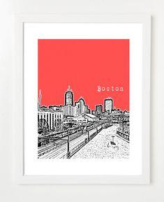 Boston Skyline Poster - Fenway District City Art Print 8x10 - Prudential Center