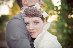 """my darling daughter-in-law wearing a Bird Cage Bow Veil made by my sister-in-law, Debbie, of  """"Top this Wedding""""."""