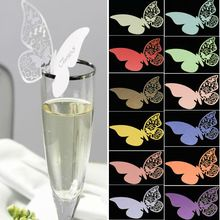 50pcs/set Wholesale Wedding Supplies  Butterfly Name Place Card Holder Wedding Party Table Wine Glass Decoration Party Event(China (Mainland))