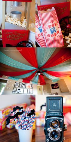 "-Fun ideas for a circus themed baby shower; Popcorn bags would say, ""About to pop!"""
