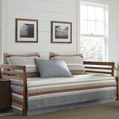 This Eddie Bauer Salmon Ladder Stripe Daybed Set is a trendy addition to your bedroom. You can effortlessly coordinate your bed with matching bedding articles from the set, which includes a daybed quilt, bed skirt and shams. Daybed Cover Sets, Daybed Sets, Daybed Bedding, Bedding Sets, Duvet Covers, King Comforter, Eddie Bauer, Chic Beach House, Cozy Place