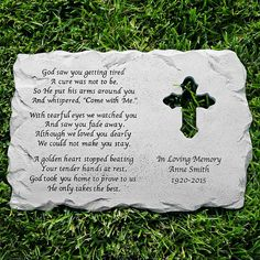 A Personal Creations Exclusive! Find comfort and peace outdoors with our beautifully crafted cross memorial garden stone.