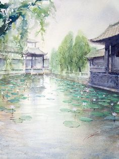 The colors are very subtle and serene. Fantasy Landscape, Landscape Art, Fantasy Art, Chinese Artwork, Chinese Painting, Art Asiatique, Japon Illustration, China Art, Japan Art