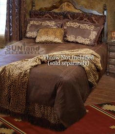 Gold Rush Bedding by Carstens A western bedding set in a palette of chocolate brown with leopard spot accents, the Carstens Gold Rush bedding ensemble will turn any bedroom in to a soothing western inspired sanctuary but with a leopard print twist. King Size Comforter Sets, King Size Comforters, Queen Bedding Sets, Western Style, Country Style, Western Bedding Sets, Bed Styling, Luxury Bedding, Bedroom Decor