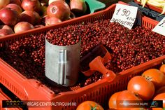 No, not cranberries (the genus is vaccinium, but the sub-genus is oxycoccus), bruklenes in English Lingonberry (Vaccinium vitis-idaea)--they grow in forests not marshes. Foto Madara, Central Market, Riga, Cranberries, Forests, Woods, English, Food, Travel